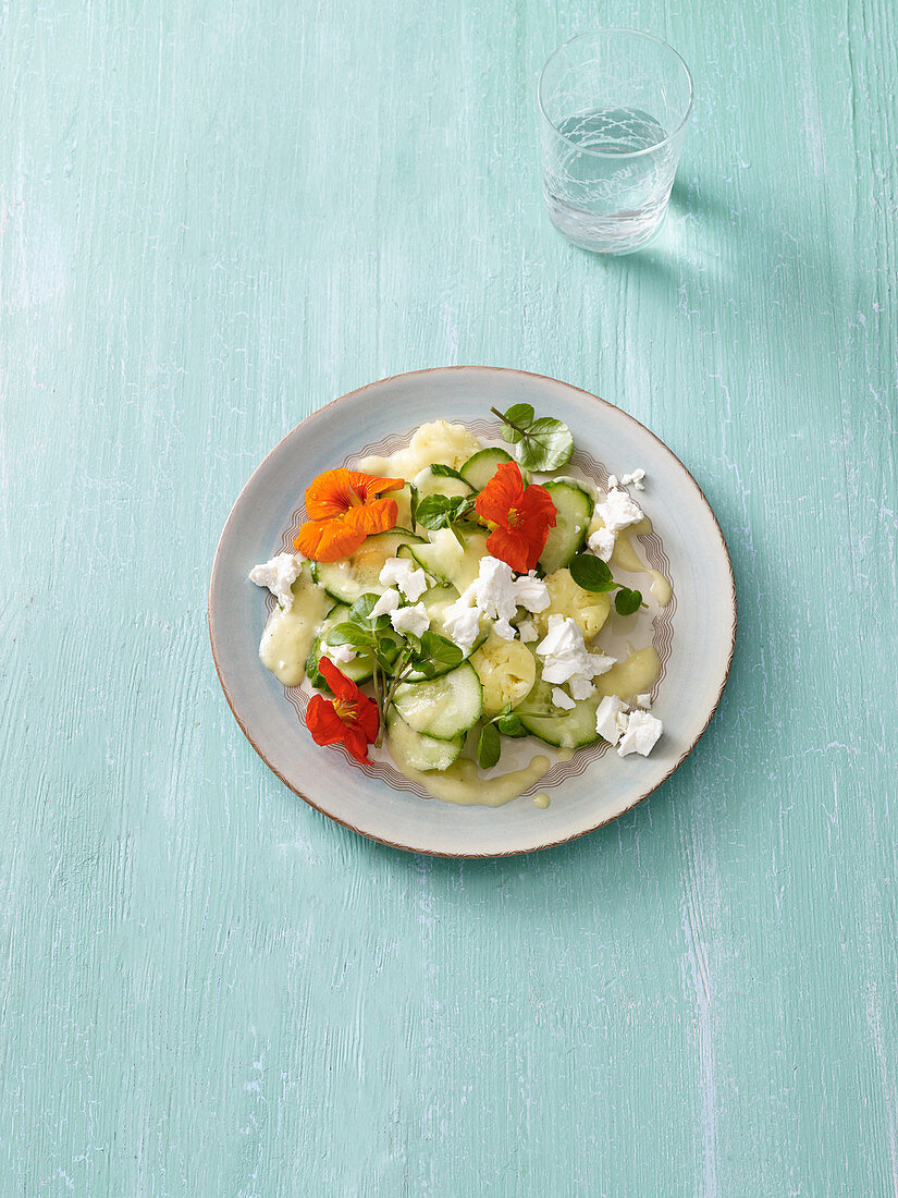 Cucumber salad with pineapple and feta