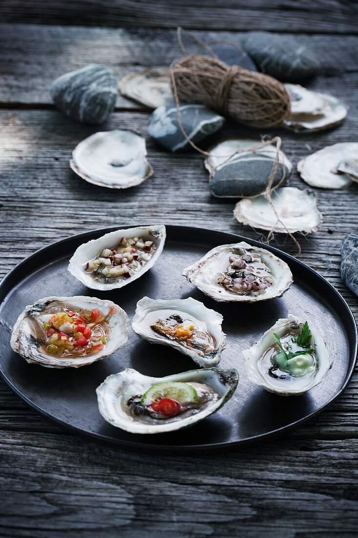 Six different types of oysters