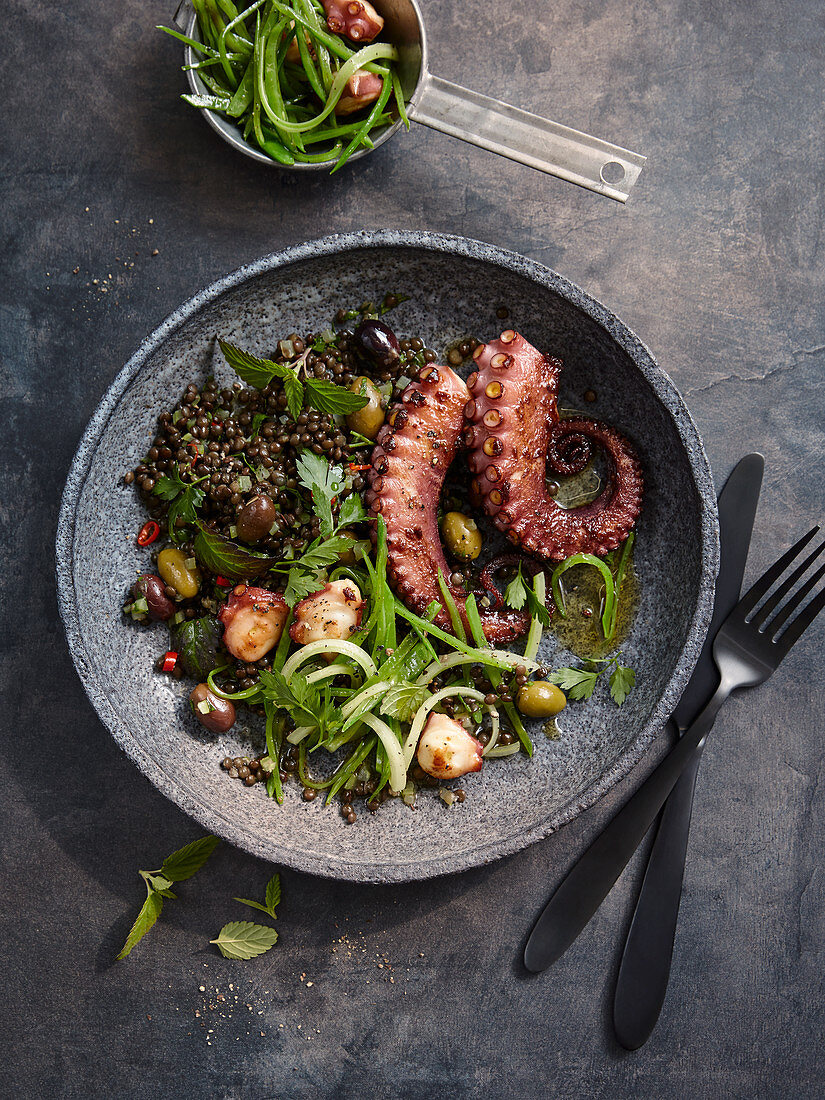 Octopus with lentils, olives and herbs