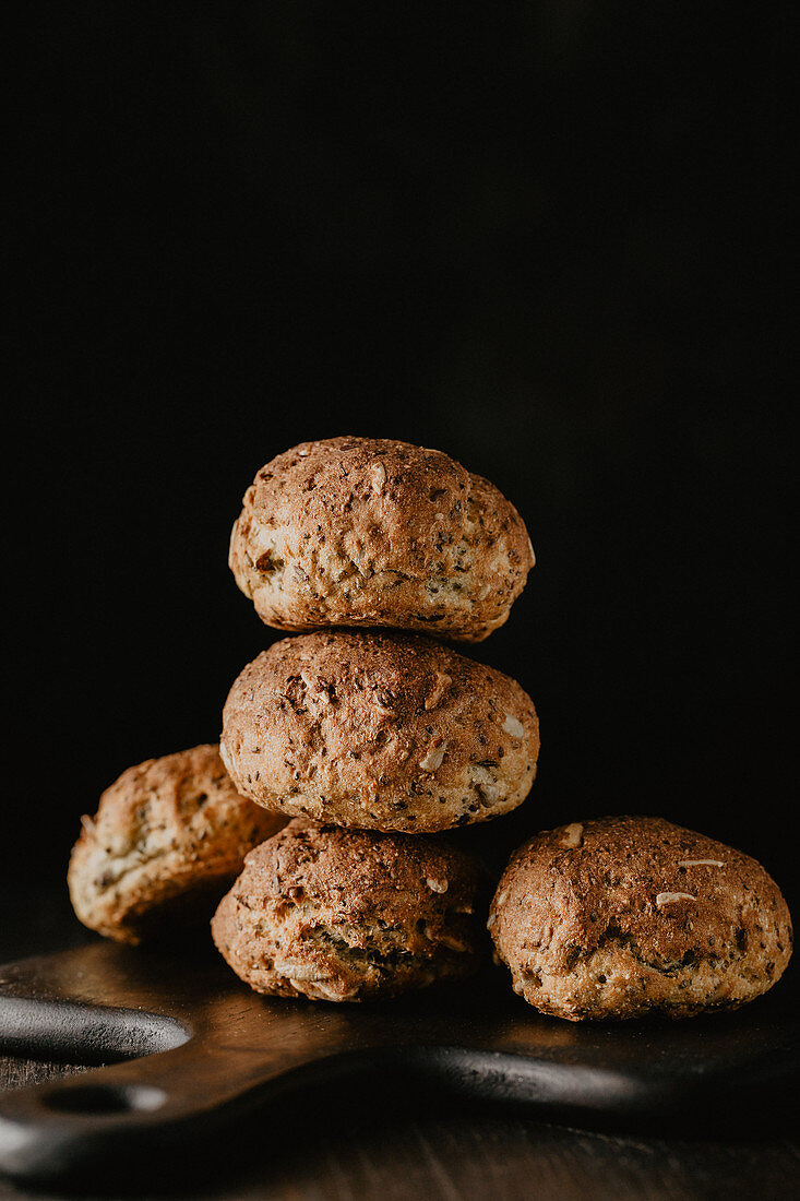 Gluten-free bread rolls with flaxseed, sunflower seeds and chia seeds