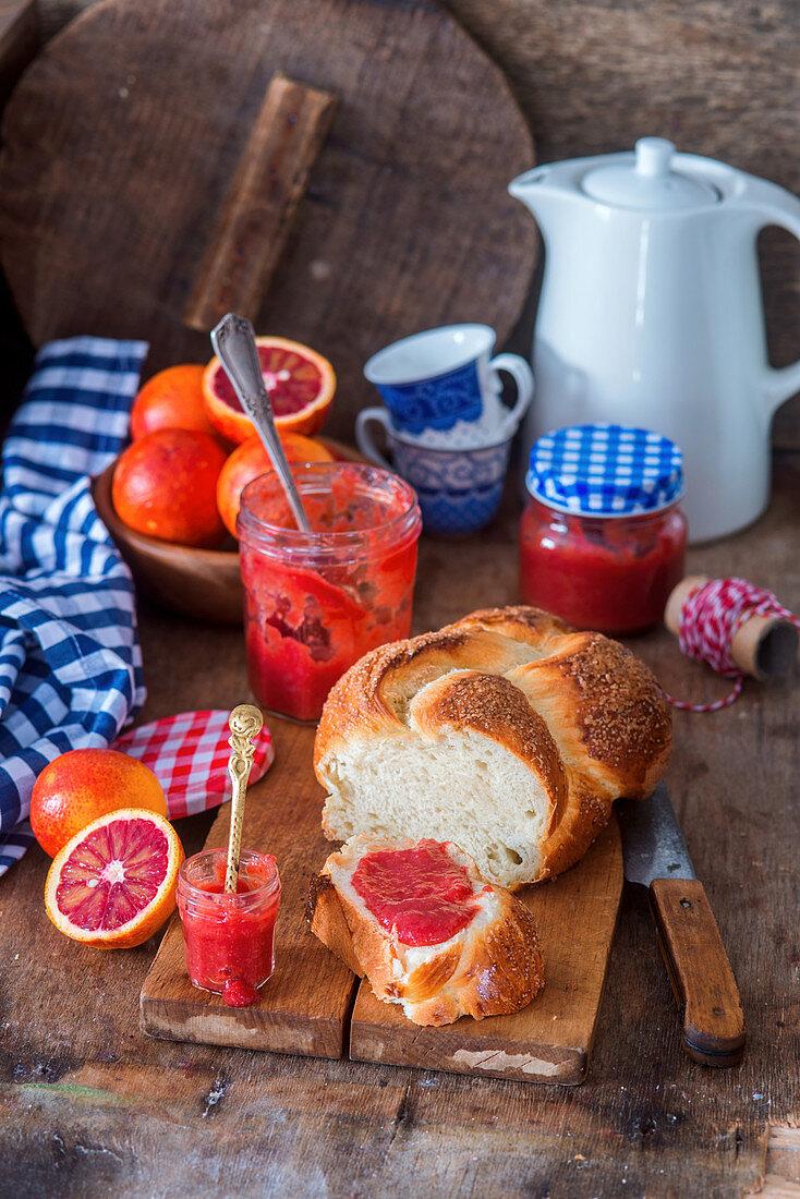 Homemade blood orange jam
