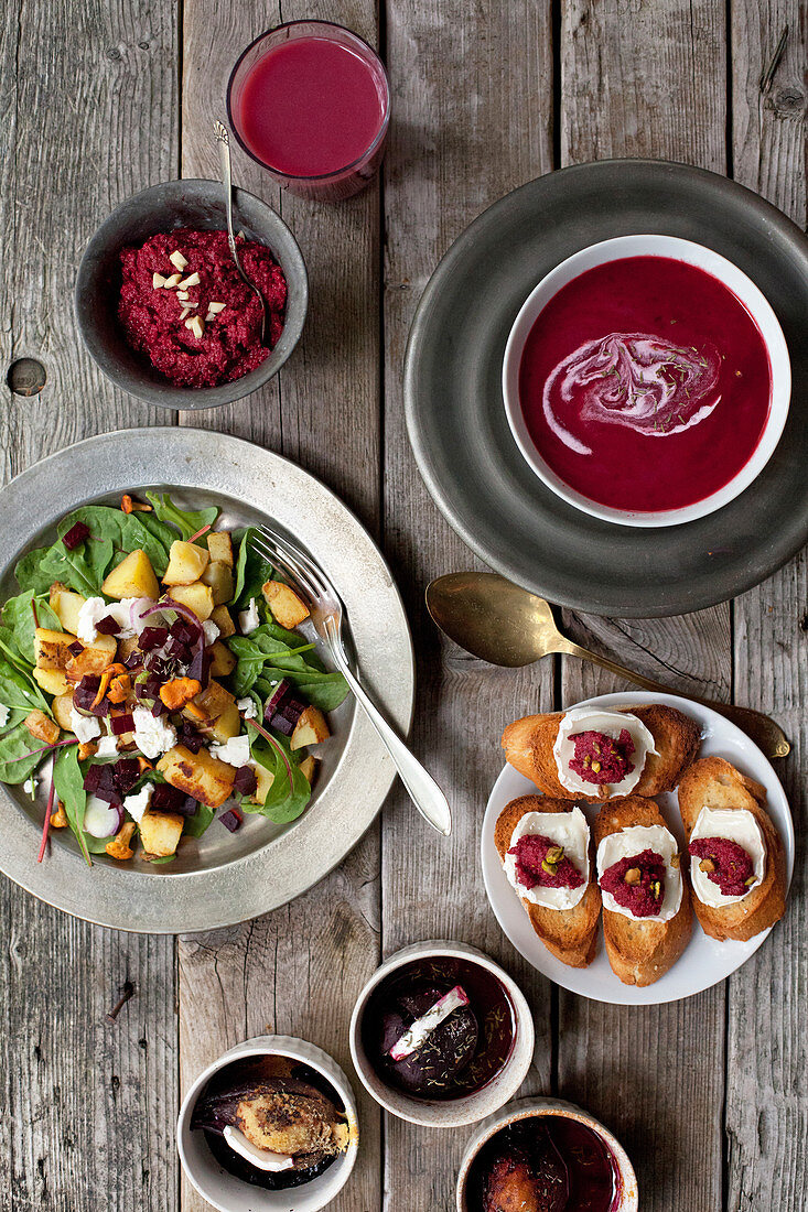 Various dishes made from beetroot
