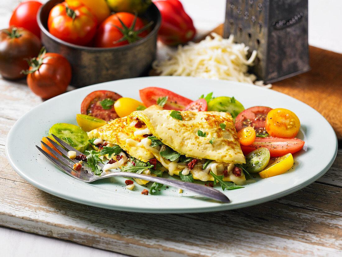 Arugula and artichoke omelette