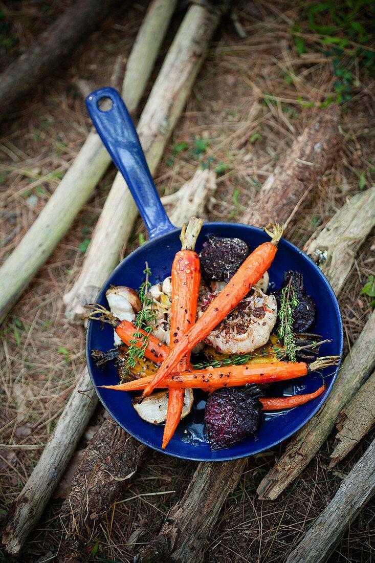 Honey glazed carrots, beets and garlic