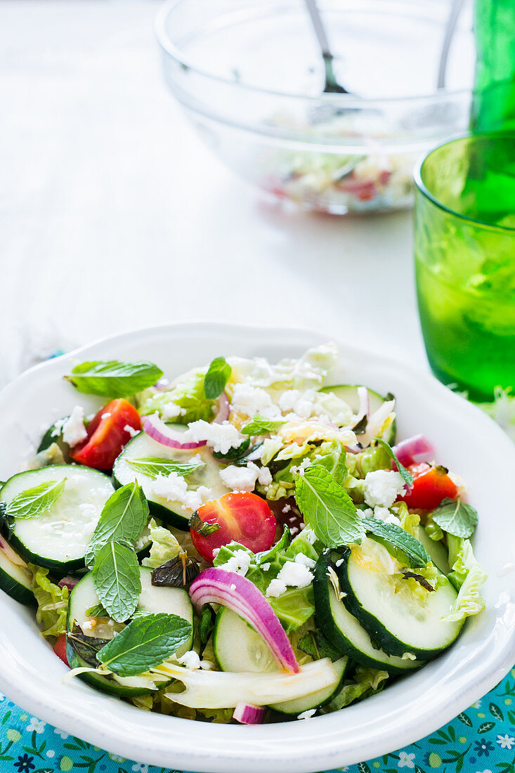 A bowl with cucumber, cherry tomatoes, cabbage and red onions salad