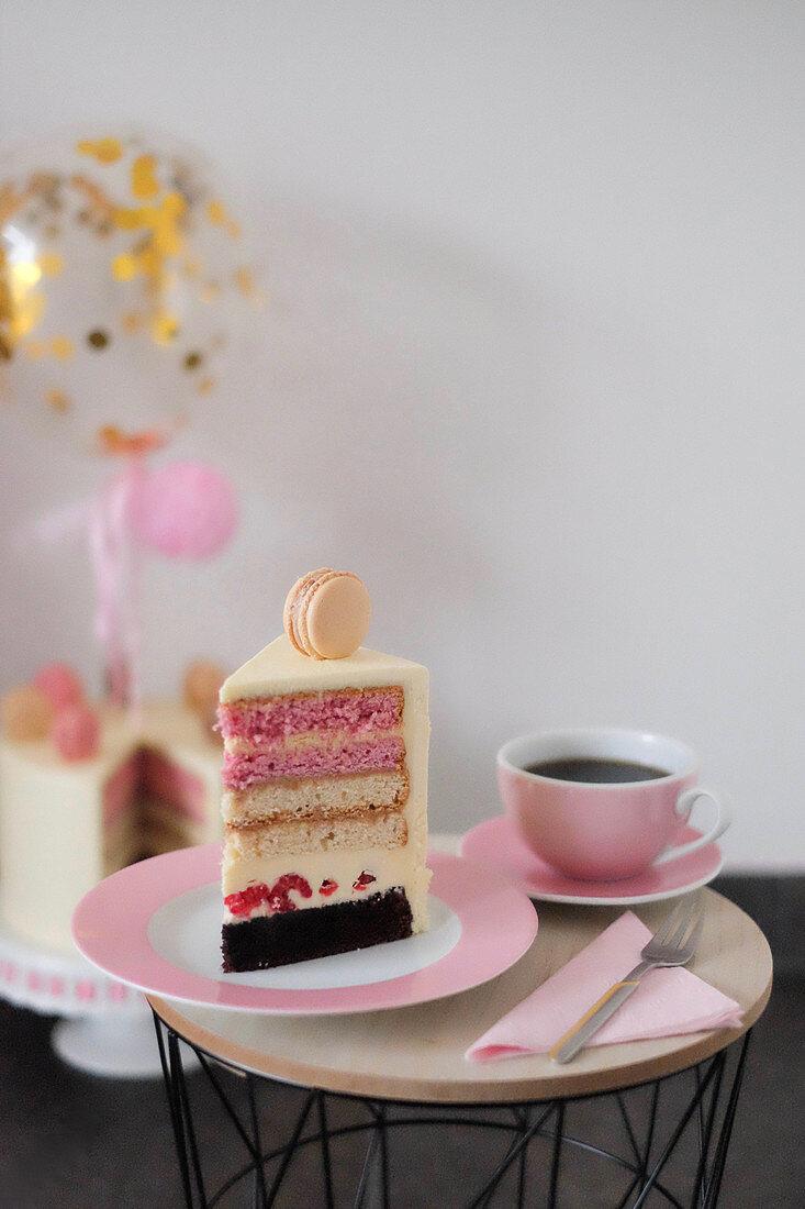 Neapolitan cake with vanilla, raspberries and chocolate