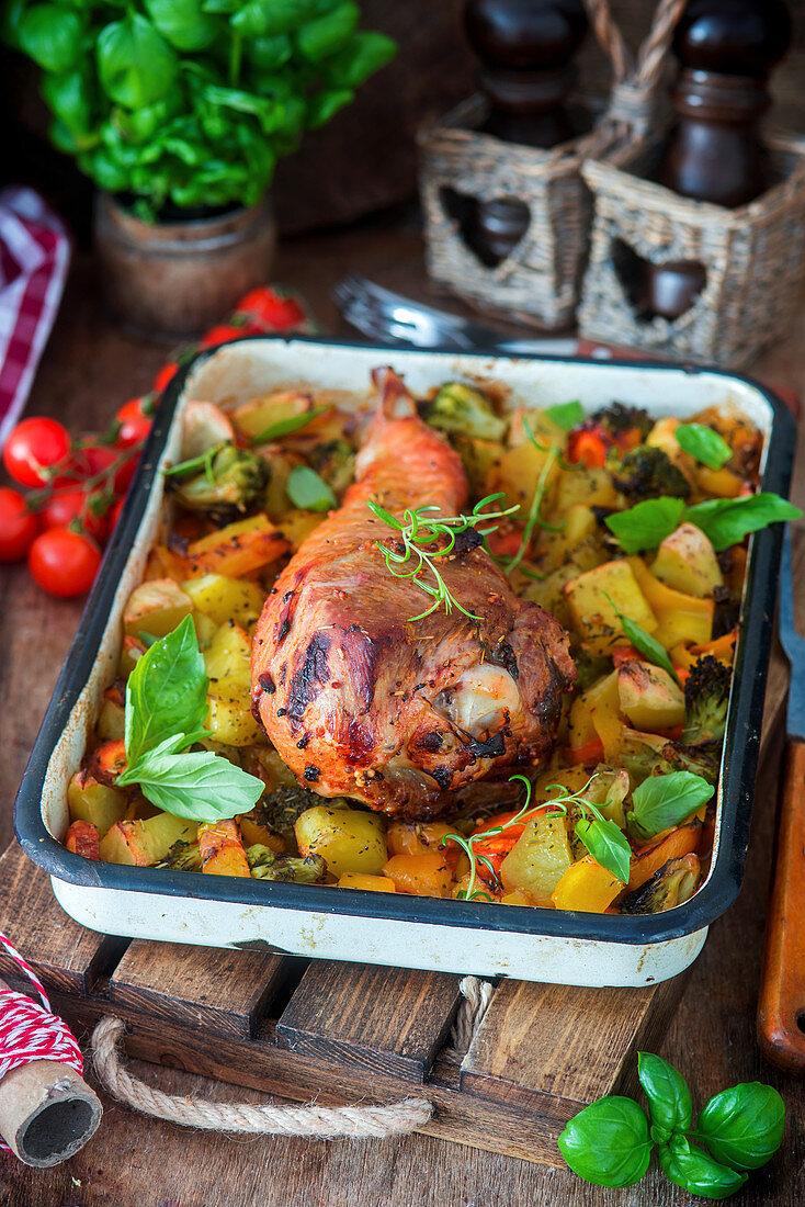 Roast turkey leg with vegetables