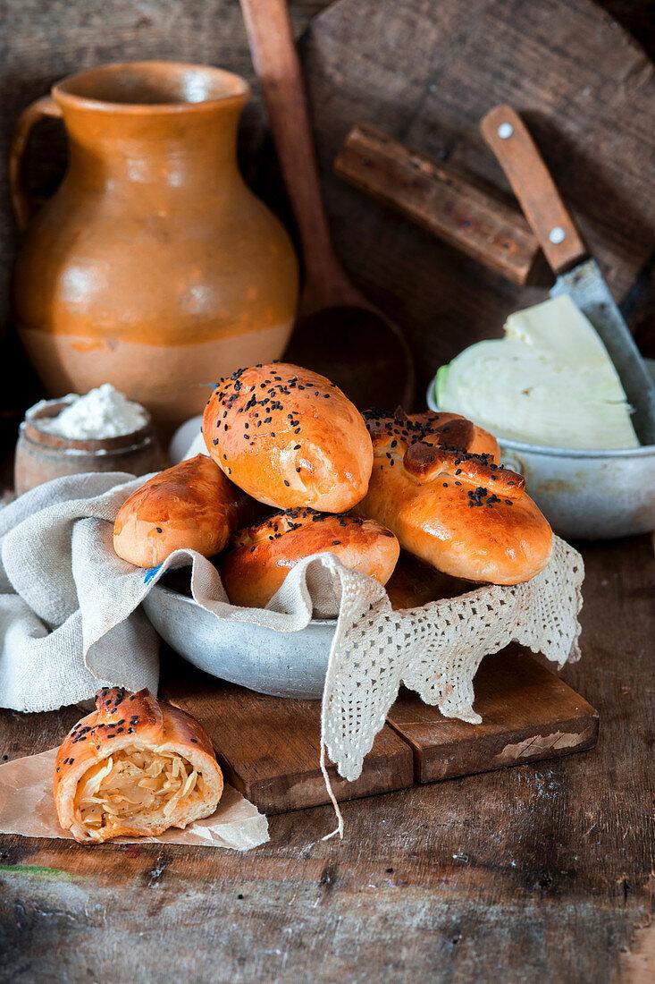 Pirozhki (Russian cabbage pies)