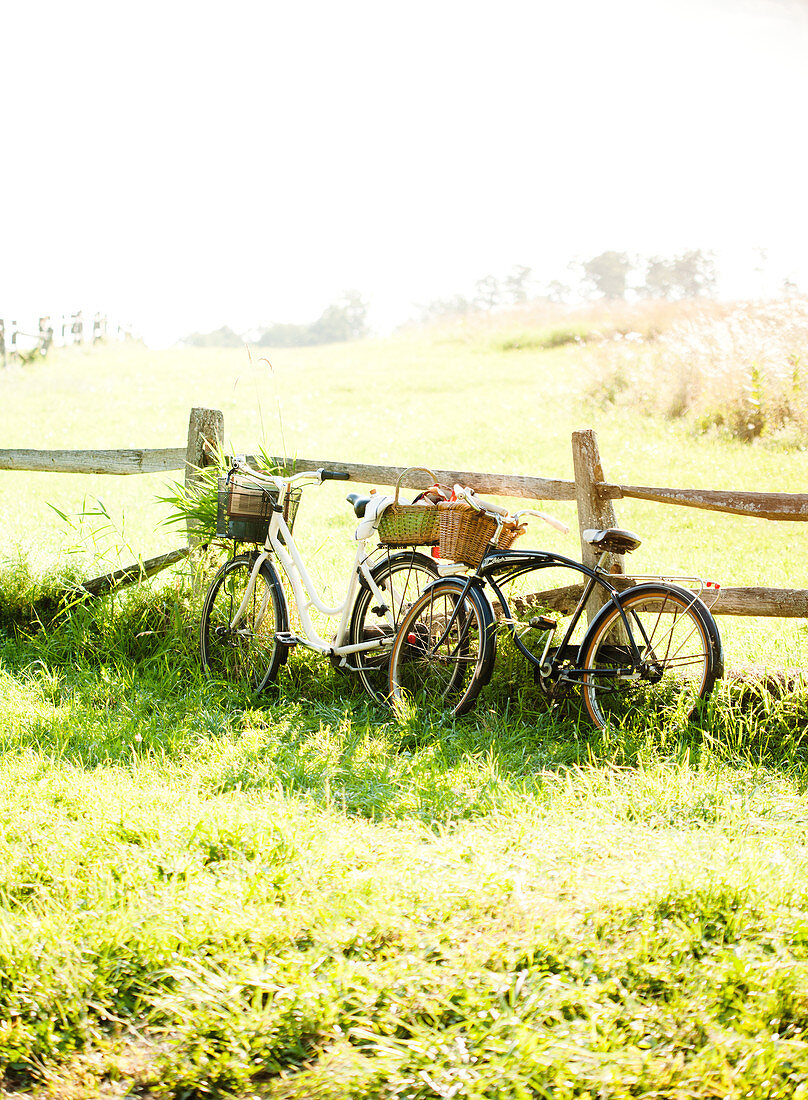 Bicycles with picnic baskets