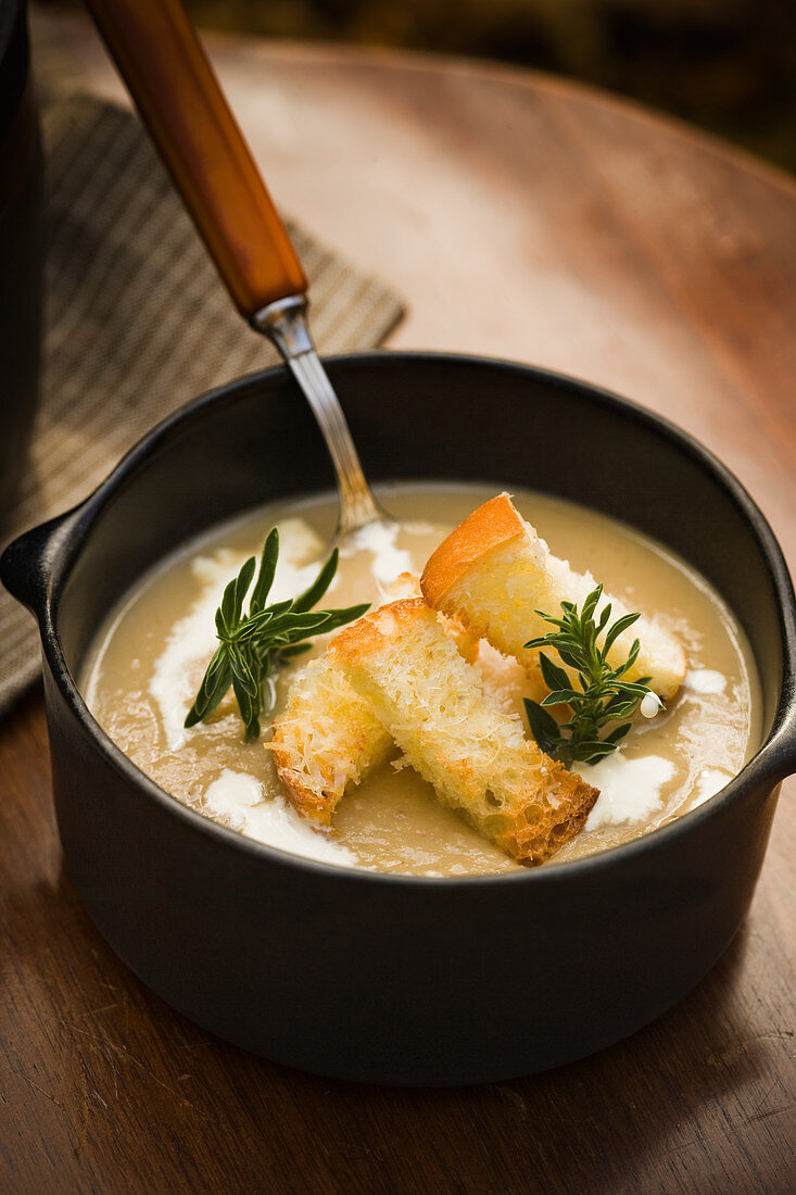 Roasted potato leek and chestnut soup