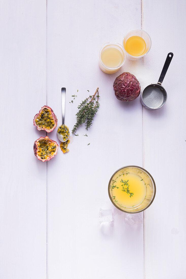 Zutaten für Maracuja-Mocktail mit Thymian