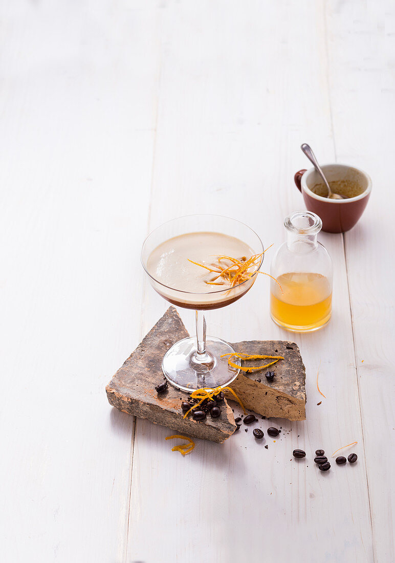Coffee Shakerato with ginger and bitter orange marmalade (alcohol-free)