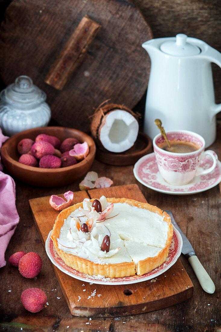 Coconut lychee pie