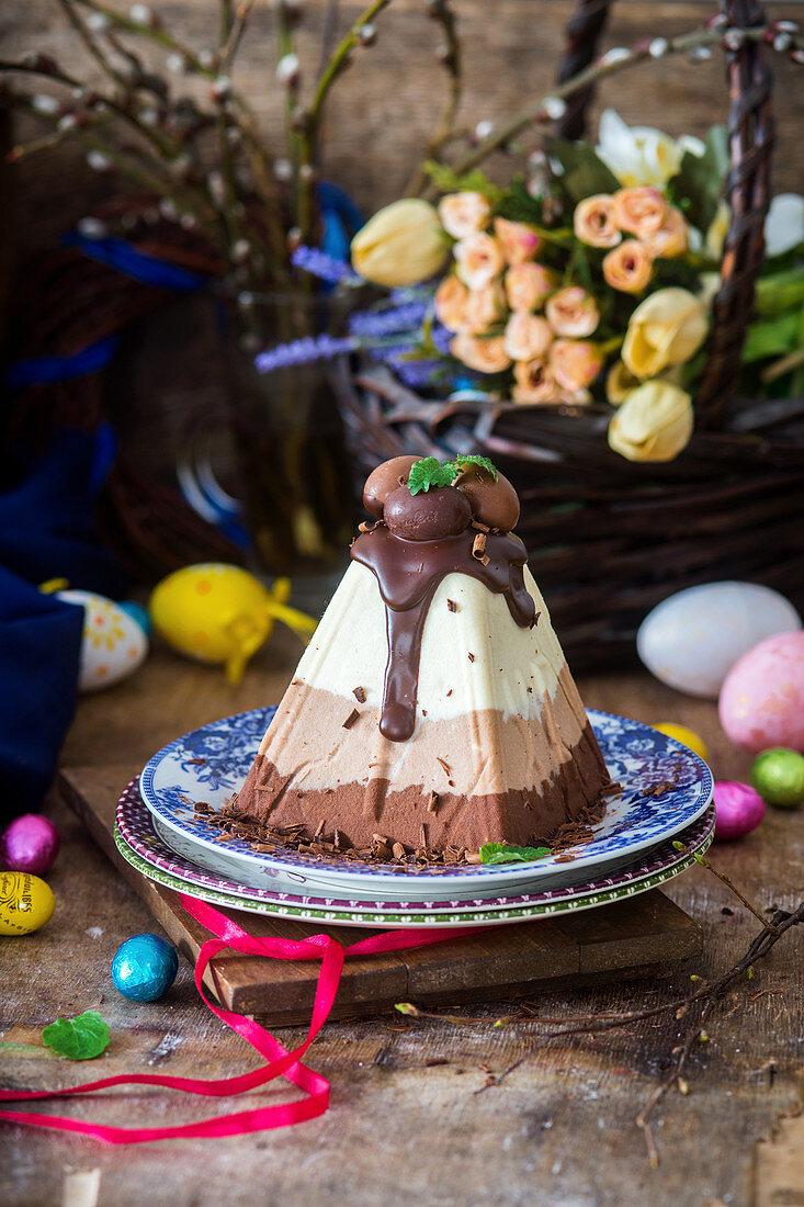 Easter three chocolates traditional dessert Pascha