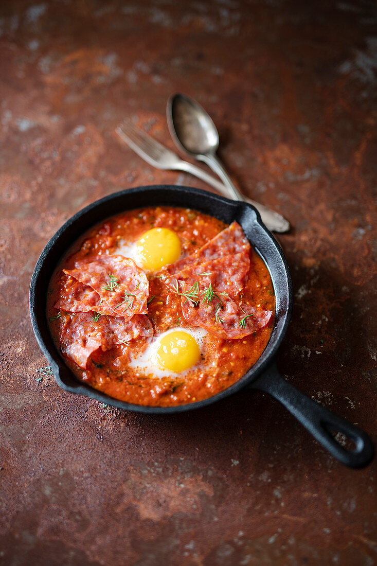 Shakshuka with spicy pepper sausage and egg (Israel)