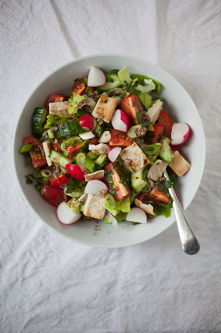 Fattoush (middle eastern salad of cucumber, tomato, spring onion with a sumac, flat parsley and lemon juice dressing)