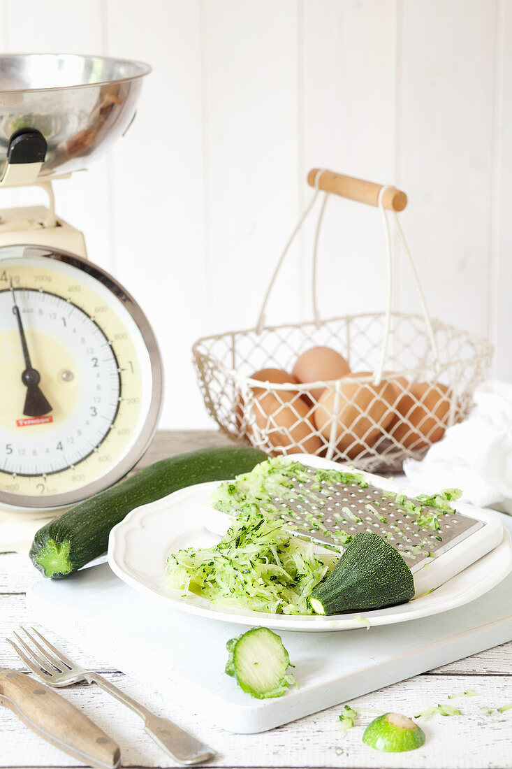 Grated Courgettes in a Vintage Setting