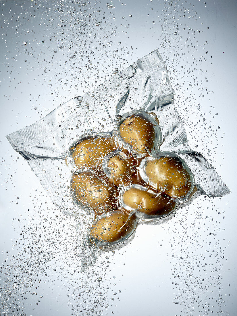 Potatoes in a sous vide bag