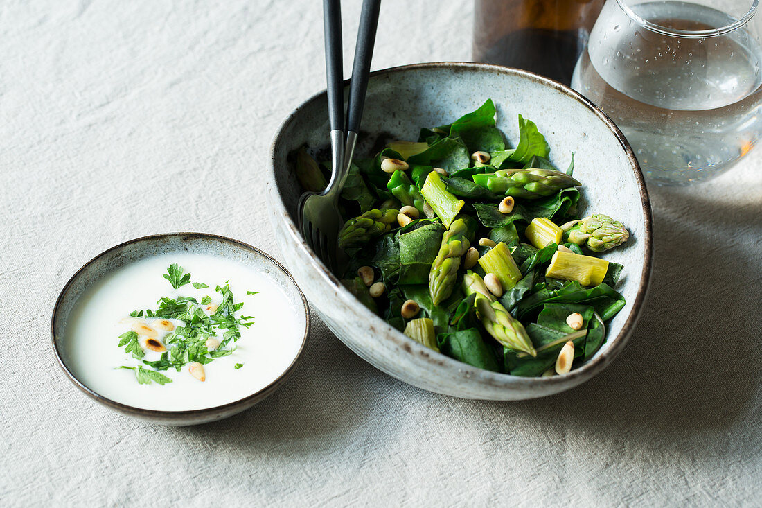 A steamed asparagus and chard medley