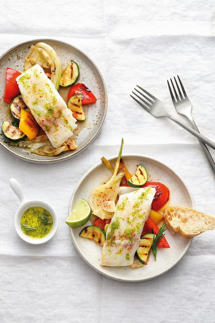 Roast cod with Mediterranean grilled vegetables