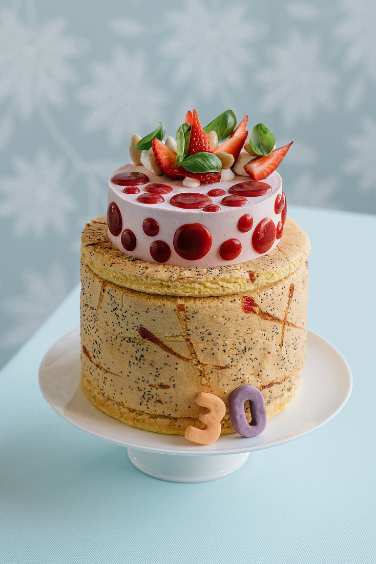Festive strawberry and almond Charlotte