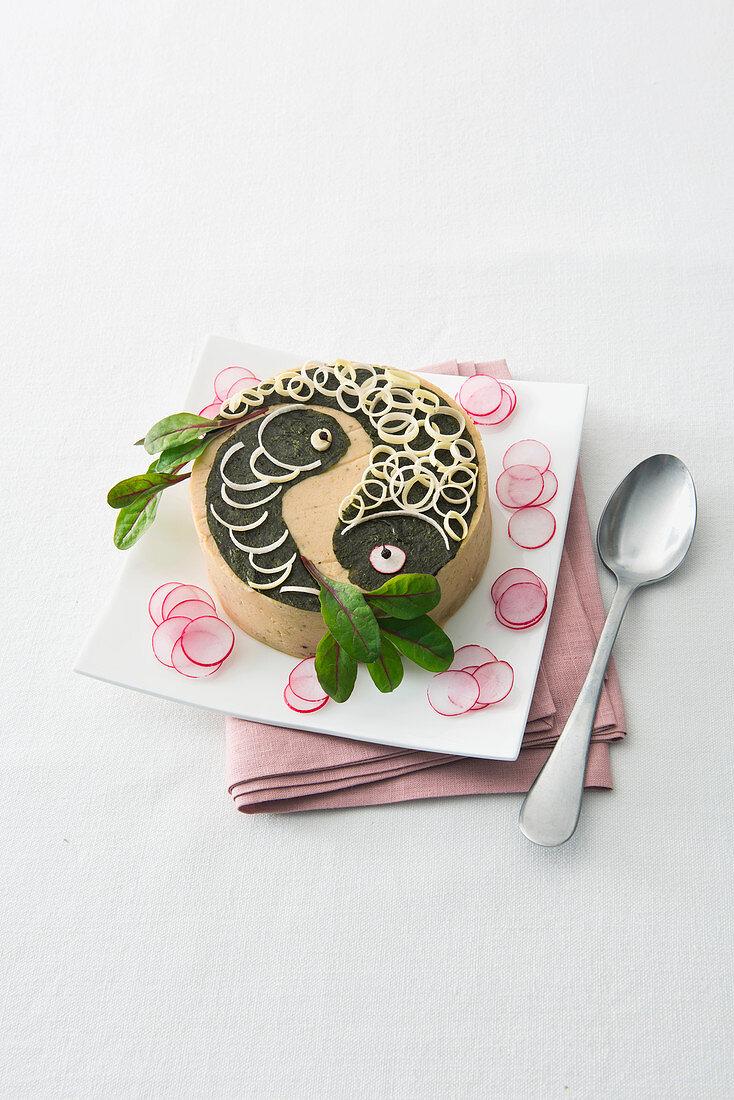 Potato and tuna fish cake decorated with wakame fish