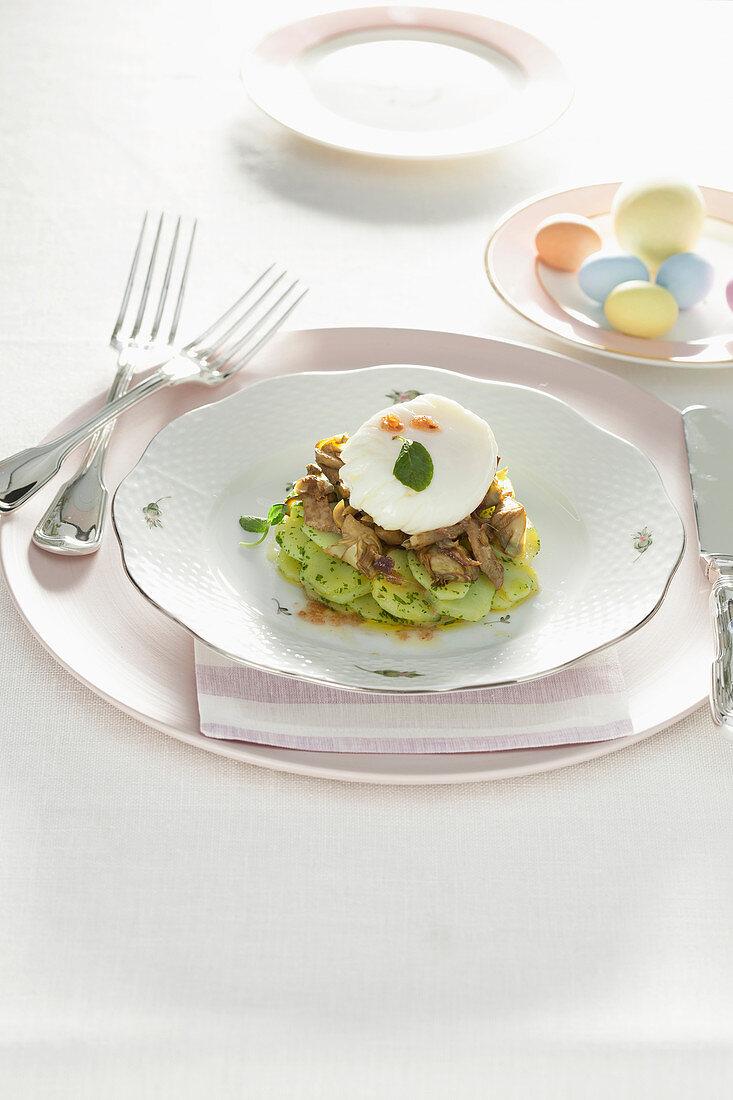 Artichoke caponata with egg and anchovies