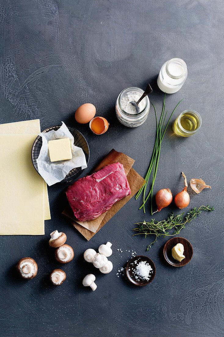 Infredients for Beef Wellington
