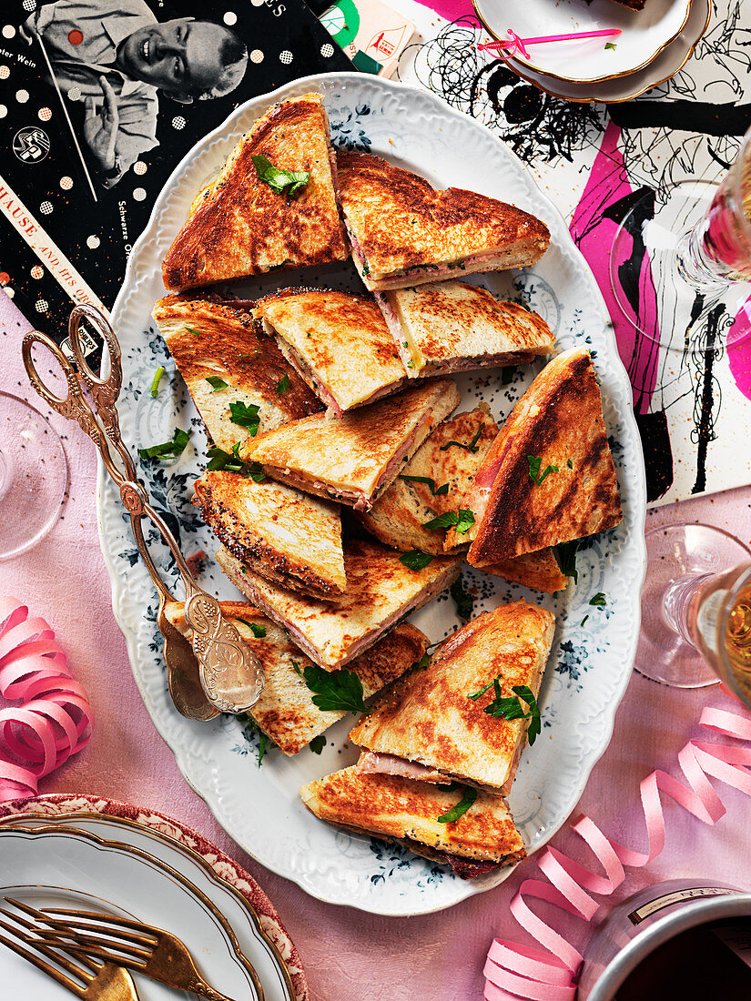 Ham and cheese toasties for a New Year's Eve party