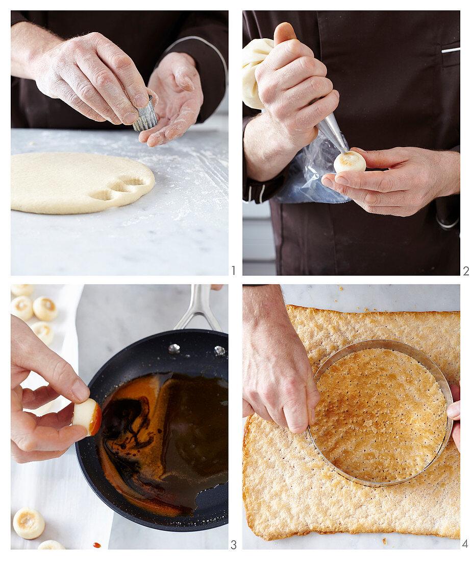 A vegan Saint Honoré cake being made