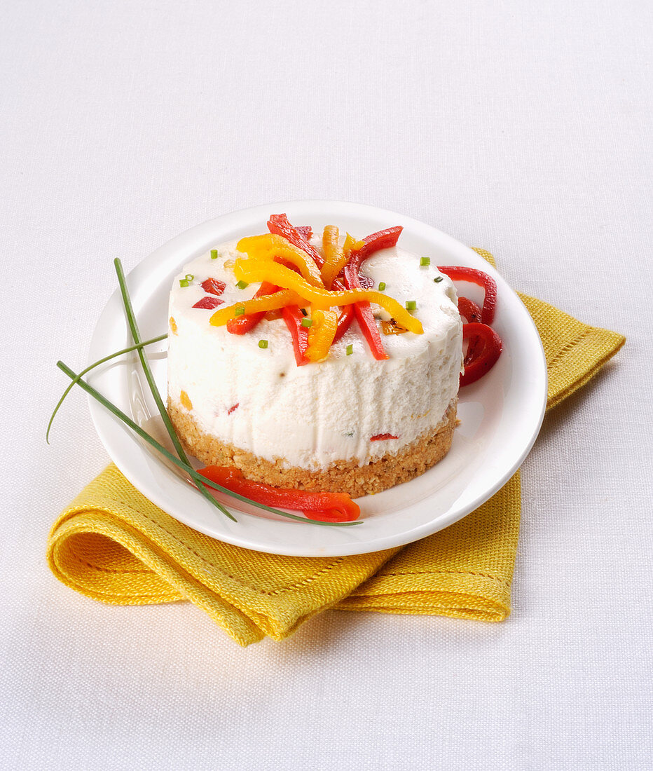A goat's cheese tart with peppers