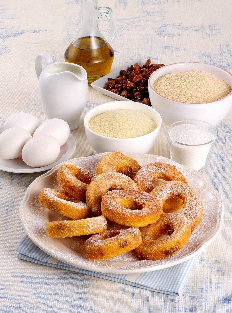 Doughnuts with semolina and raisins