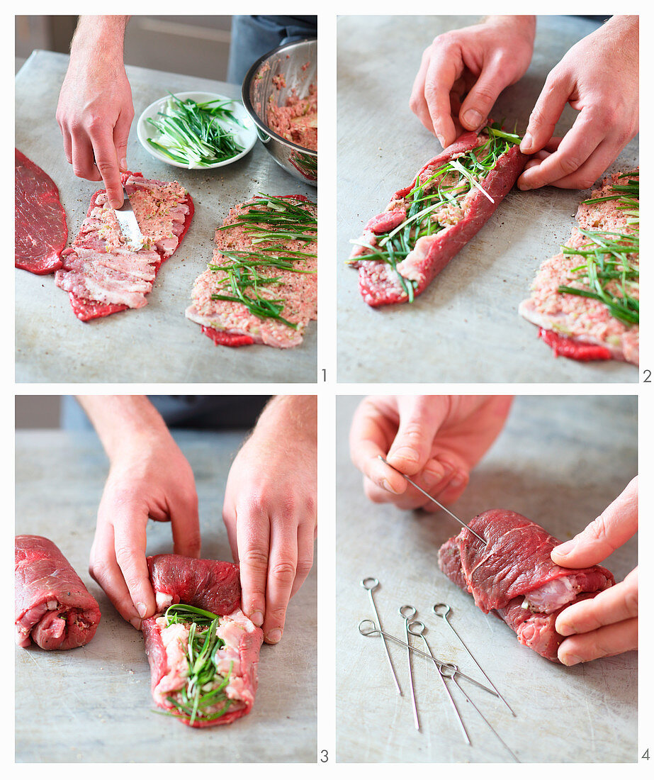 Classic beef roulade being wrapped