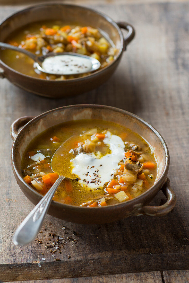 Tyrolean barley soup with caraway cream