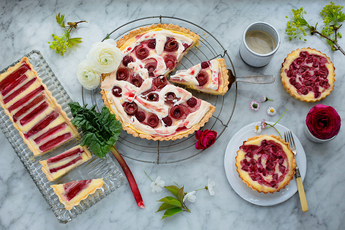 Three cakes and pastries with rhubarb