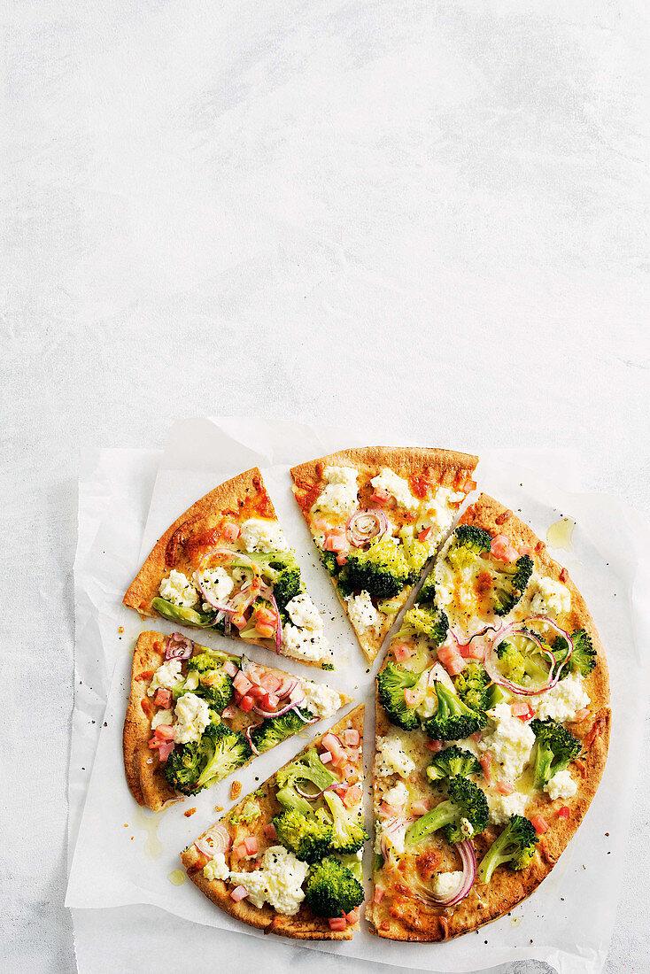 Broccoli and bacon pizza