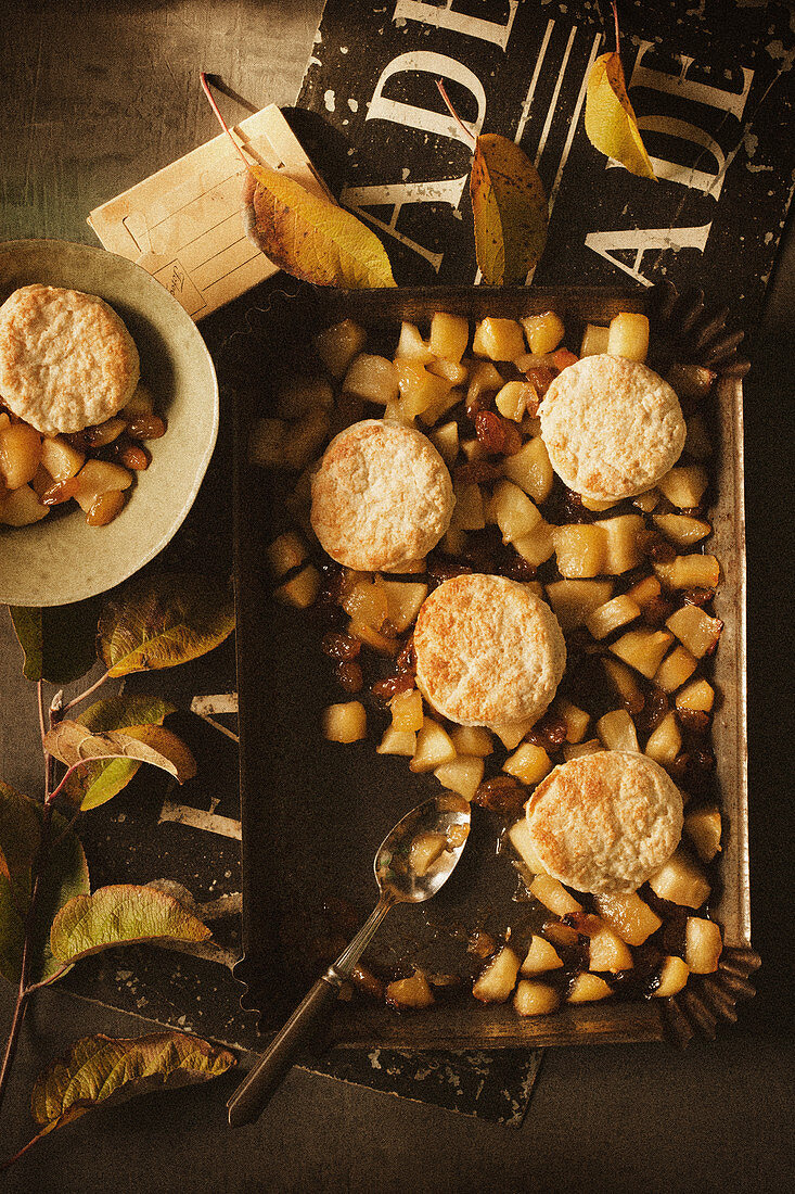 Baked Apple with Biscuits