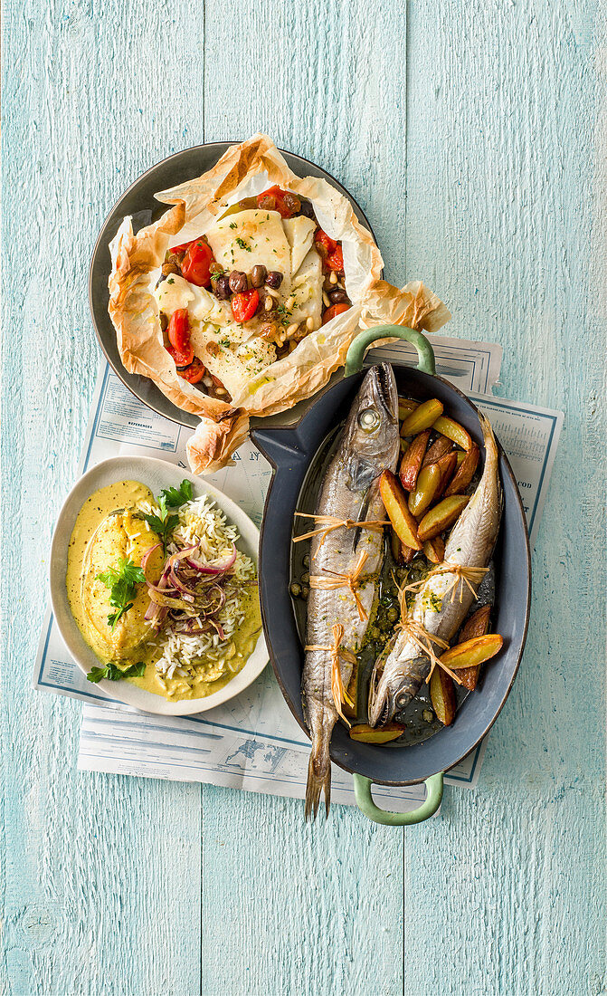 Oven-baked stuffed hake with potatoes, cod in paper, and cod and onion curry
