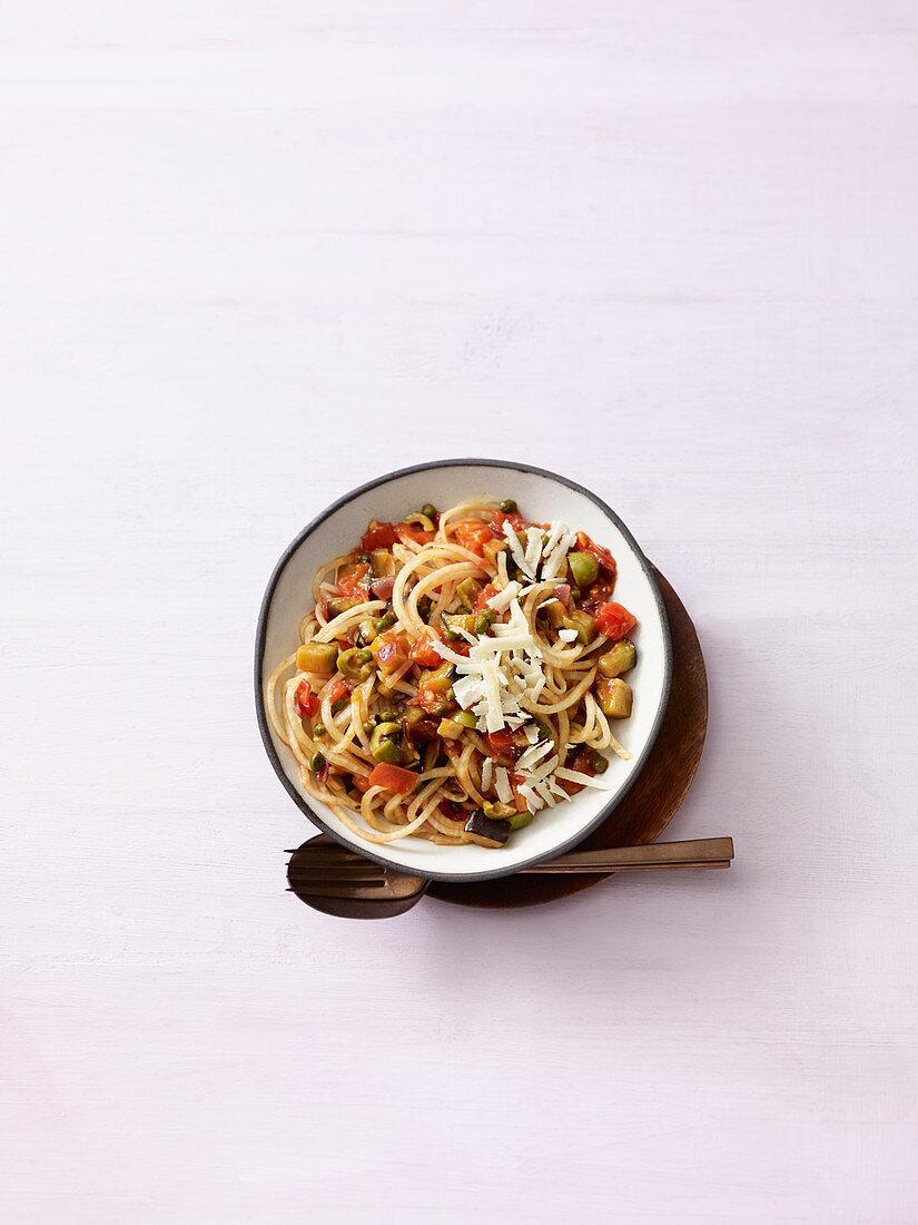 Celeriac noodles with sauce à la siciliana