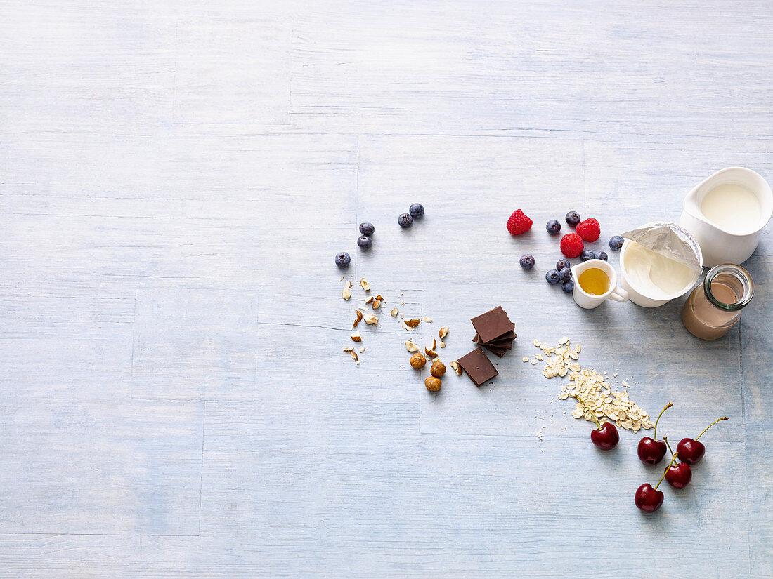 Ingredients for healthy muesli