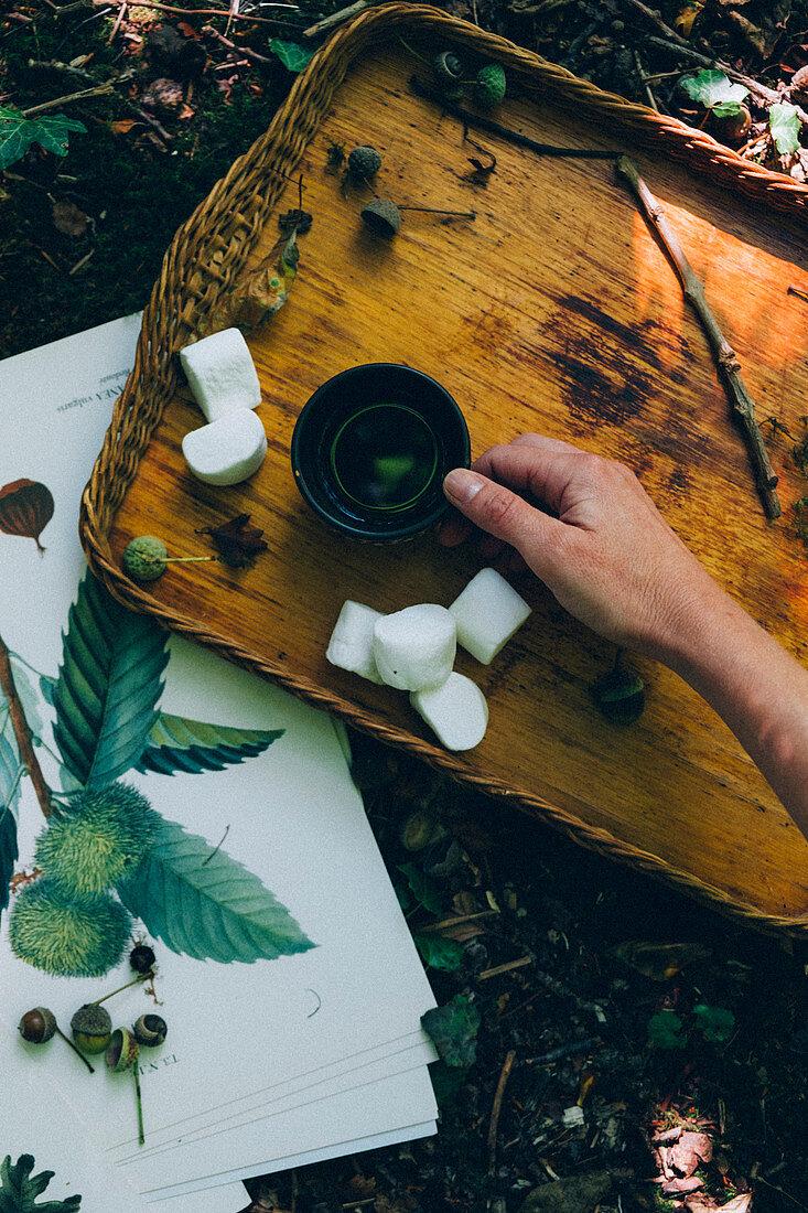 Autumn tea with autumn illustrations