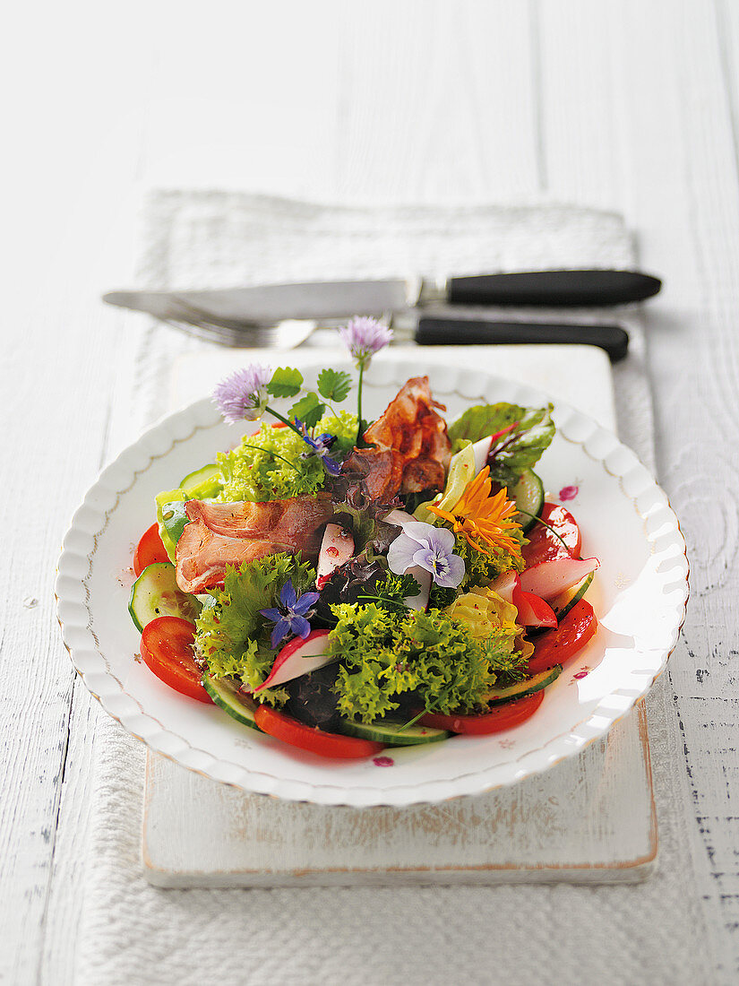 A colourful salad plate from a country garden