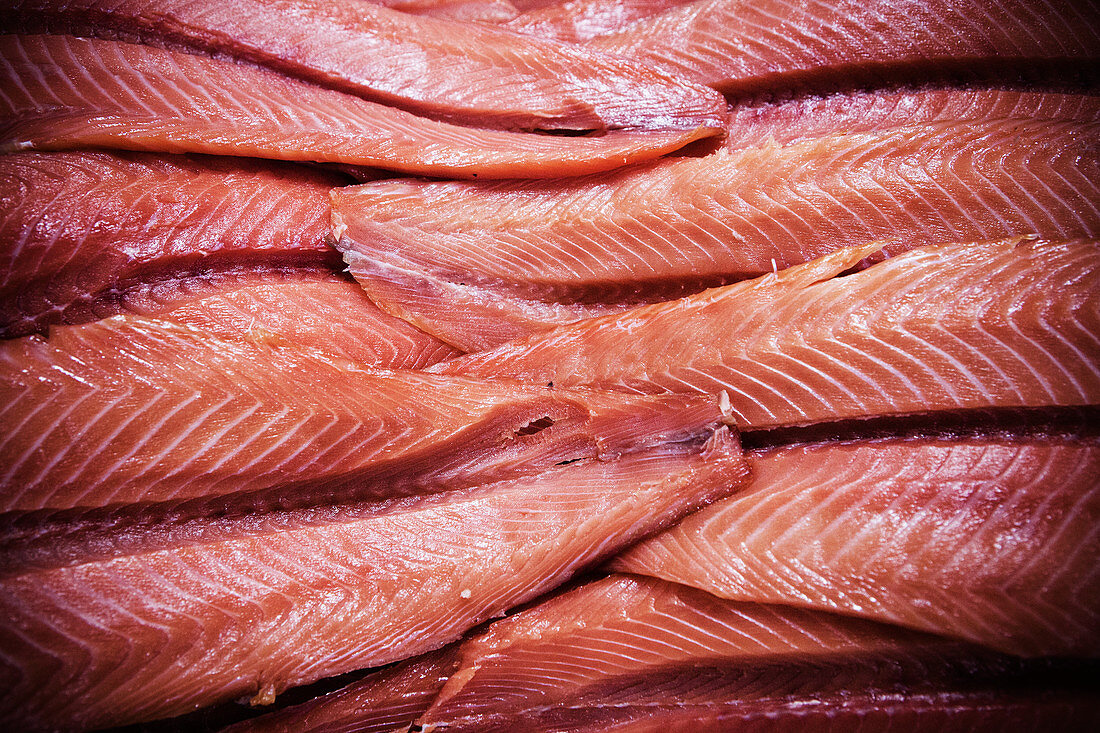 Fresh salmon fillets (full frame)
