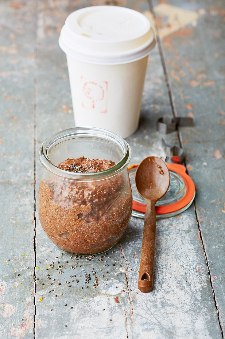 Chocolate coffee cream with chia seeds in a jar