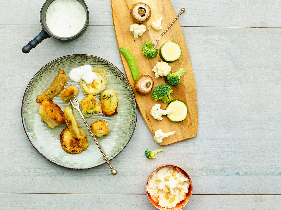 Vegetable fondue in a wine batter (low carb)