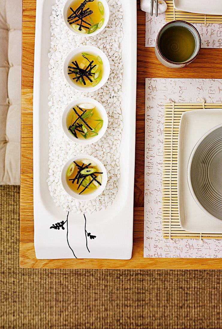Miso shots with tofu and nori