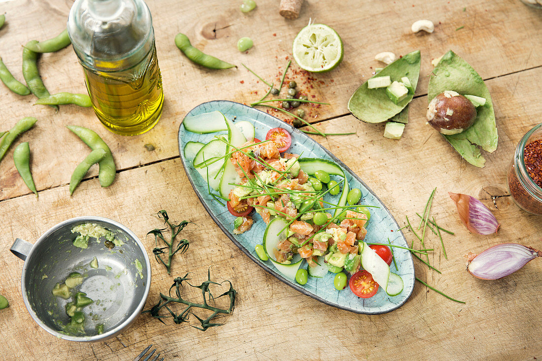 Salmon tartare with avocado and soya beans