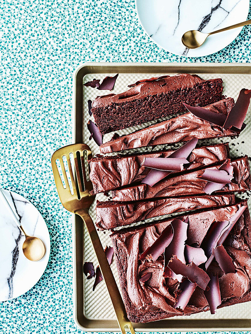 Texas chocolate sheet cake with sour cream frosting