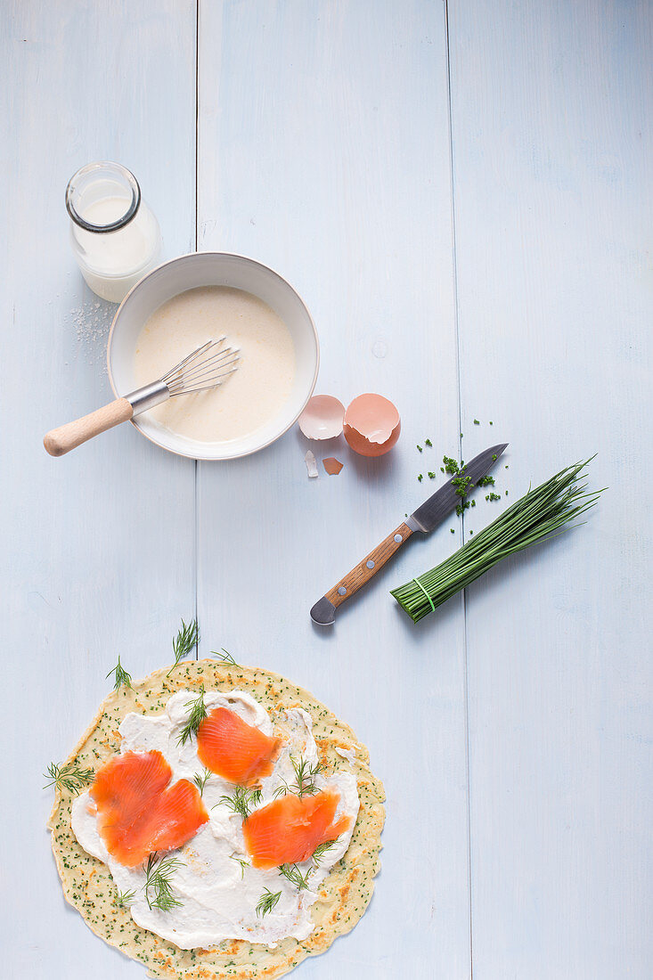 Ingredients for pancake rolls with smoked salmon