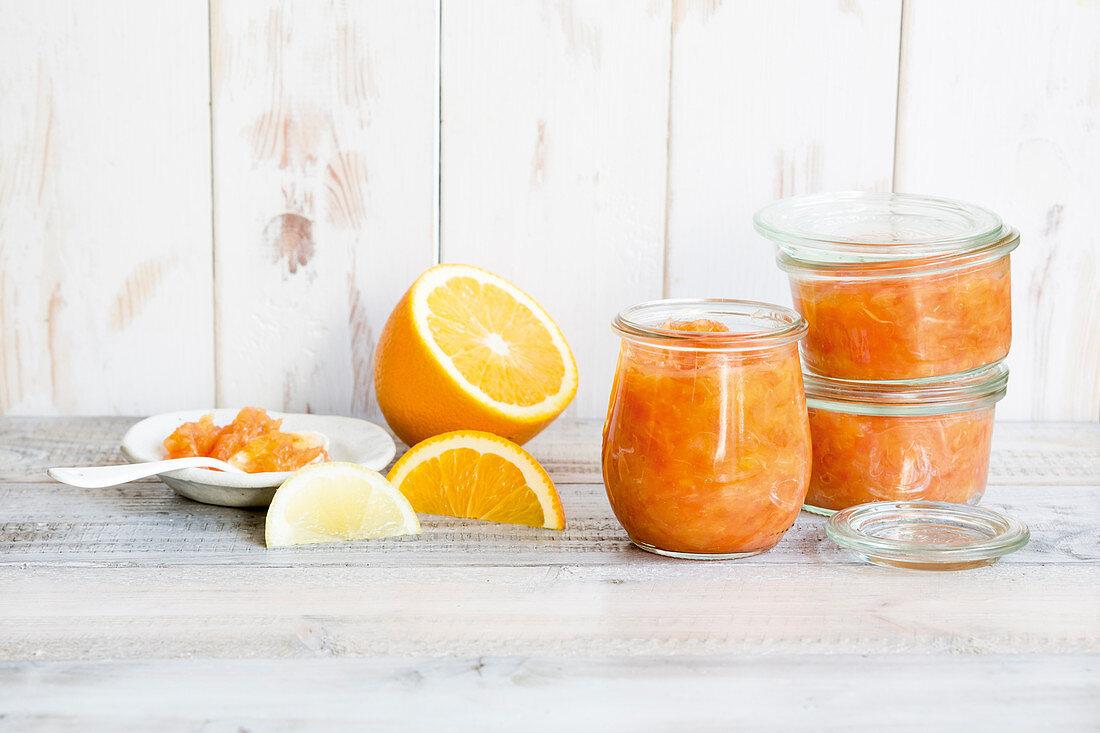 Zitrus-Fruchtaufstrich mit Agar-Agar (Glyx)